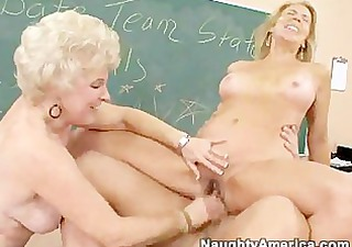two mature concupiscent ladies receive drilled