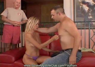 blonde swinger copulates total stranger as hubby