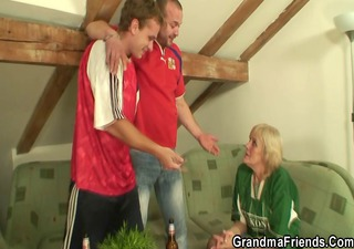 old whore is filled with jocks