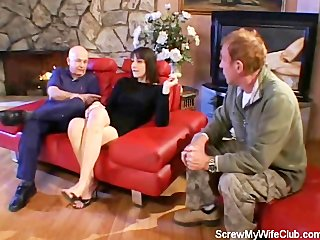 wife fucked on a red couch