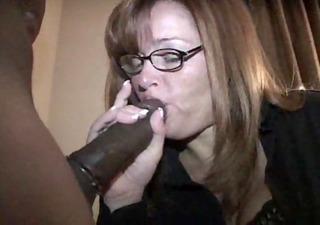 older wife gags on black knob