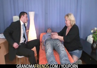 blond grandma gets slammed by two weenies
